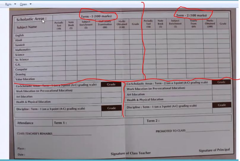 two Sample of An Academic terms report card/ result sheet